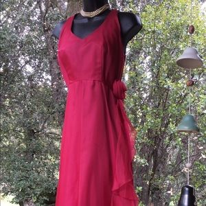 Vintage Berry Red Chiffon Eve Bridal Rose Gown 8